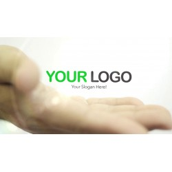 A hand shows your logo in...
