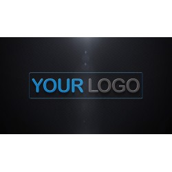 logo in a box with black...