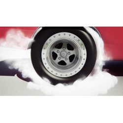 Racing car tire shows the...